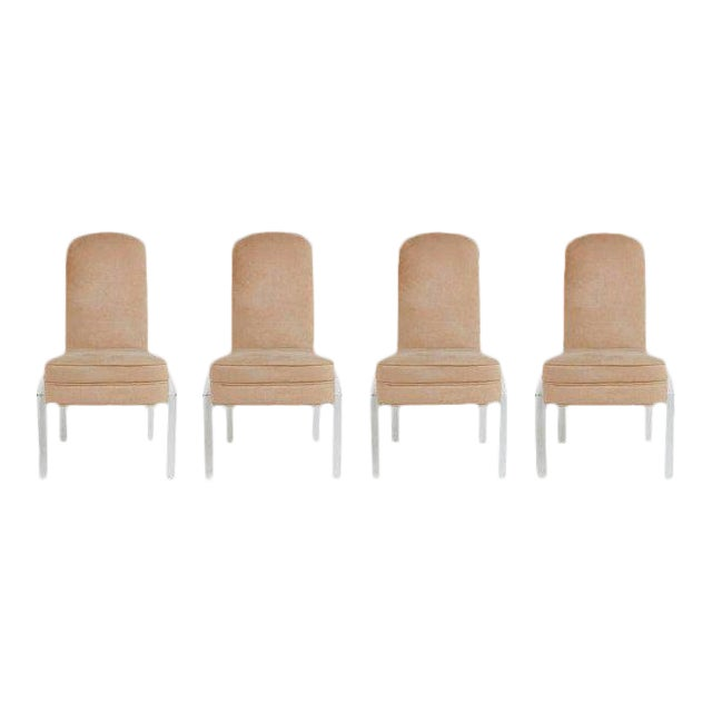 Lucite and Alcantara Dining Chairs, Circa 1970 - Set of 4 For Sale