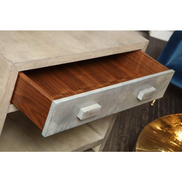 Modern Pair of Parchment Nightstands For Sale - Image 3 of 10
