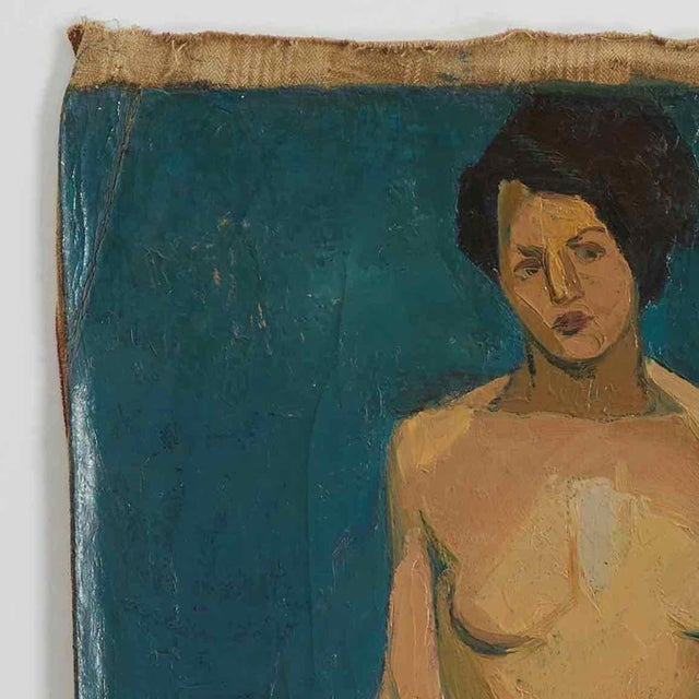 Early 20th Century Oil Painting of Nude Female on Blue Background For Sale - Image 4 of 5