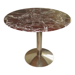 Donghia Rouge Marble Center Table on Polished Stainless Steel Base For Sale