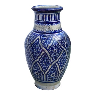 Moroccan Ceramic Blue Vase For Sale