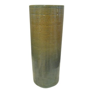 "1930s Tall ""Homespun"" Stoneware Vase by Zanesville Pottery For Sale"