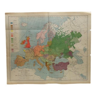 "1919 Vintage ""Map of the Races of Europe"" National Geographic Magazine Map For Sale"