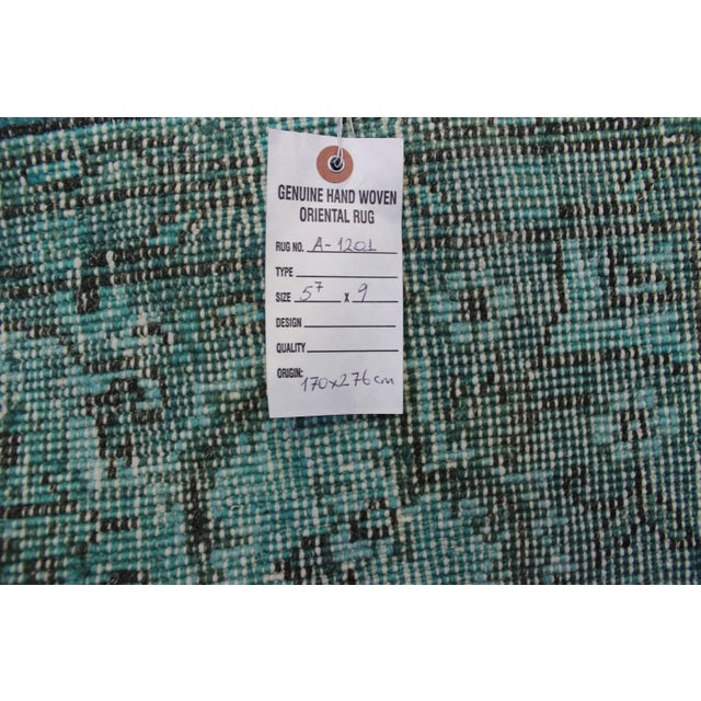 "Turkish Overdyed Turquoise Area Rug - 5'7"" X 9'1"" - Image 8 of 8"