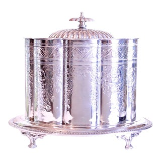 19th Century Footed Silver Plate Sheffield Biscuit Box For Sale