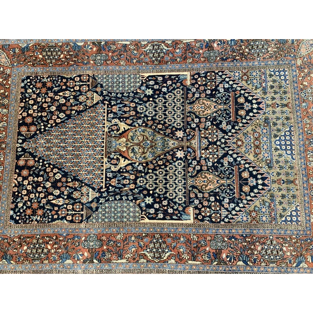 Islamic 1910s Antique Persian Kashan Rug- 4′ × 6′6″ For Sale - Image 3 of 12
