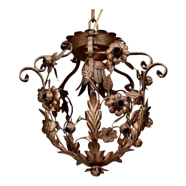 Small One Light Floral Tole Hanging Fixture - Image 1 of 6