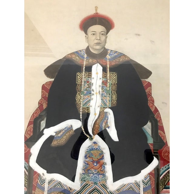 Large painting of a high ranking gentleman from Guangzhou, southern China in very fine silk robes, trimmed with most...