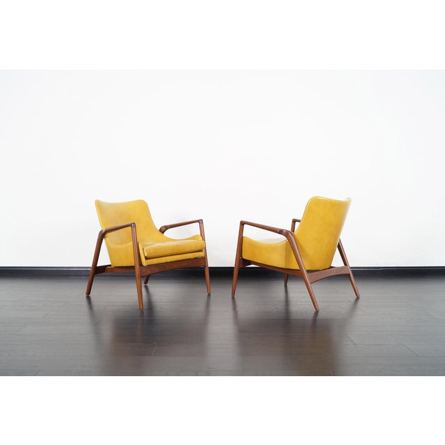 Brown Danish Modern Leather Lounge Chairs by Ib Kofod Larsen For Sale - Image 8 of 13