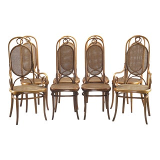 Set of 8 with 2 Arm 6 Side Thonet 207R Long John Bentwood Caned Chairs