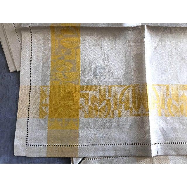 Textile Vintage Damask Linen Napkins - Set of 12 For Sale - Image 7 of 13