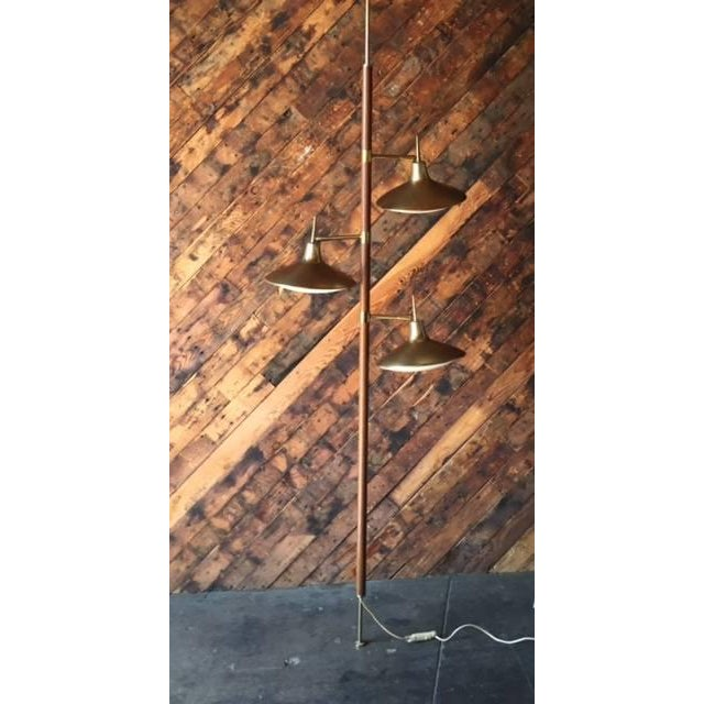 Mid-Century Brass & Wood Tension Pole Lamp - Image 2 of 11