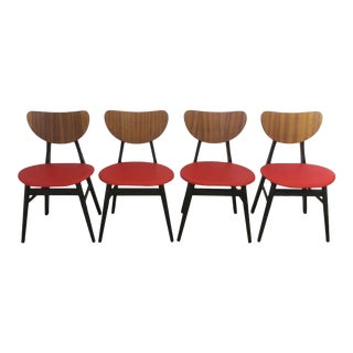 Set of 4 Retro G Plan Tola Black Red Vinyl Seated Butterfly Dining Chairs For Sale