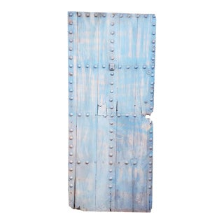 Moroccan Light Blue Single Panel Wooden Door For Sale