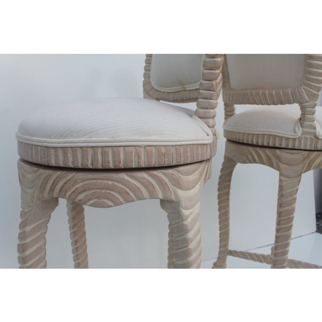 Italian Carved Rope & Tassel Bar Stools -- A Pair - Image 5 of 11