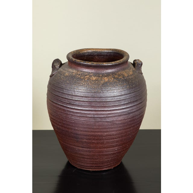 Antique Japanese Bizen Stoneware Crock For Sale - Image 4 of 7