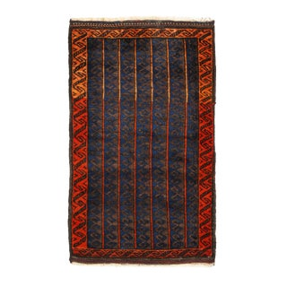 1900s Antique Persian Geomettic Brown and Orange Wool Baluch Rug- 2′ × 3′ For Sale