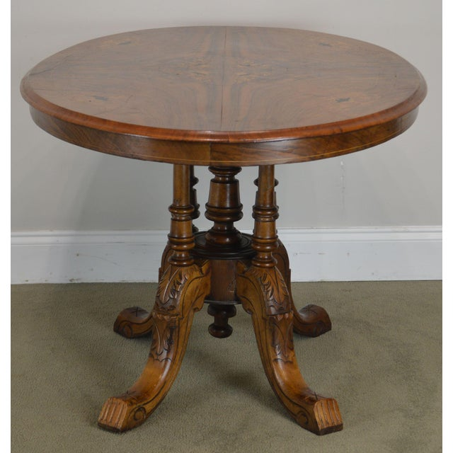 Antique Burl Walnut Victorian Inlaid Oval Parlor Table For Sale In Philadelphia - Image 6 of 13