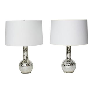 Pair of 1970s Swedish Luxus Encased Mercury Glass Lamps For Sale