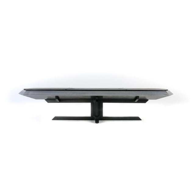Topher Gent Contemporary Topher Gent Bench No. 10 Steel Leather Cantilever Bench For Sale - Image 4 of 9