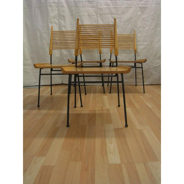Set of 4 solid maple shovel chairs by paul mccobb, produced by winchendon. 1950'S. Blonde wood, refinished, satin lacquer....