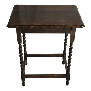 1900s Primitive Oak Turned Barley Twist Accent Table