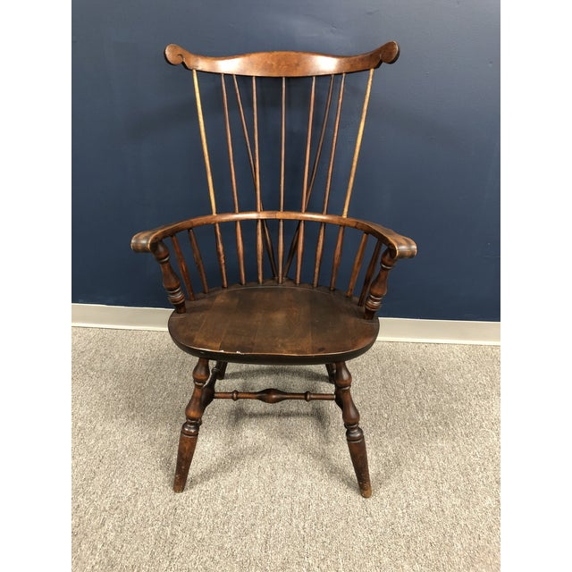 One Armed Windsor Accent Chair: Nantucket Fanback Windsor Arm Chair With Brace