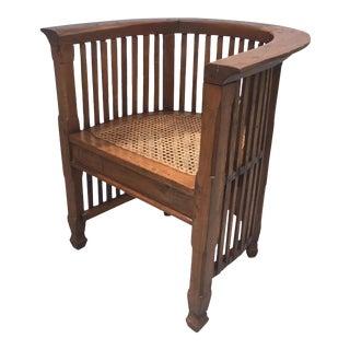 Vintage Slatted Barrel Back Hand Carved Chair For Sale