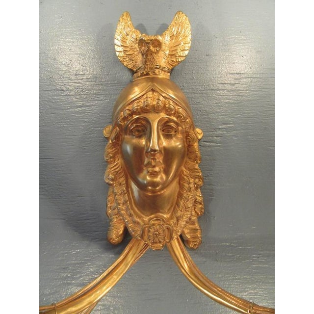 19th Century French Bronze Dore Athena with Owl Sconces For Sale - Image 4 of 9
