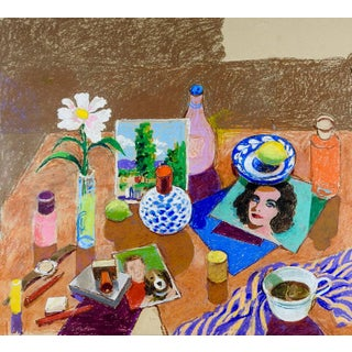 "Circa 1960s ""Still Life With Liz Taylor"" Oil Pastel Painting For Sale"