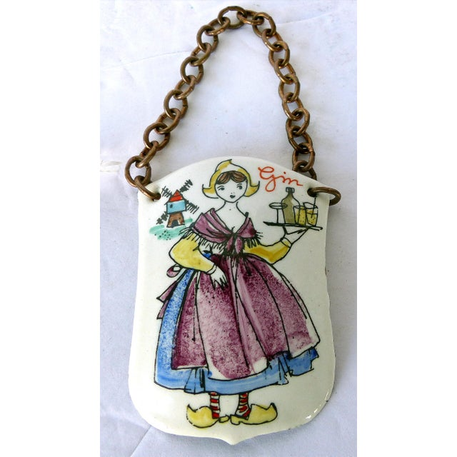 Mid-Century Modern Austrian Hand Enameled Decanter Gin Label For Sale - Image 4 of 4