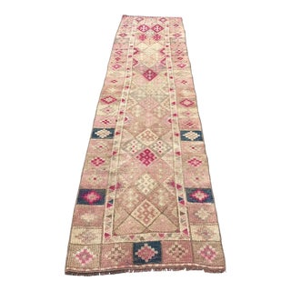 1960s Turkish Handwoven Wool Faded Floor Runner Rug For Sale