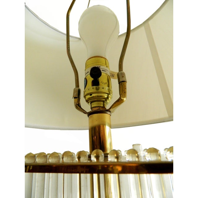 Vintage Glass Rods Brass Floor Lamp For Sale - Image 4 of 7