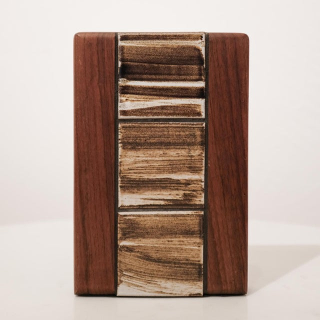 Mid-Century Modern Jane and Gordon Martz Walnut Ceramic Bookends for Marshall Studios For Sale - Image 3 of 8