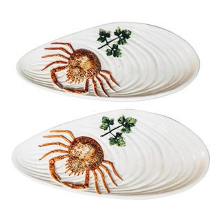 Vintage Italian Crab Plates - a Pair For Sale