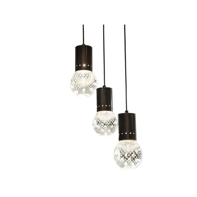 Black Triple Pending Lighting in Glass and Lacquered Steel by Seguso - Italy 1950's For Sale - Image 8 of 8