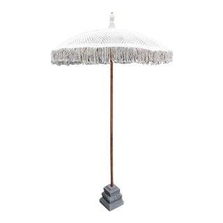 White Macrame Umbrella W/ Stone Base For Sale
