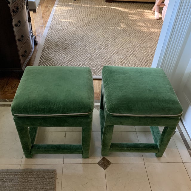 Emerald John Mascheroni for Swaim Emerald Green Velvet Parsons Stools - a Pair For Sale - Image 8 of 10