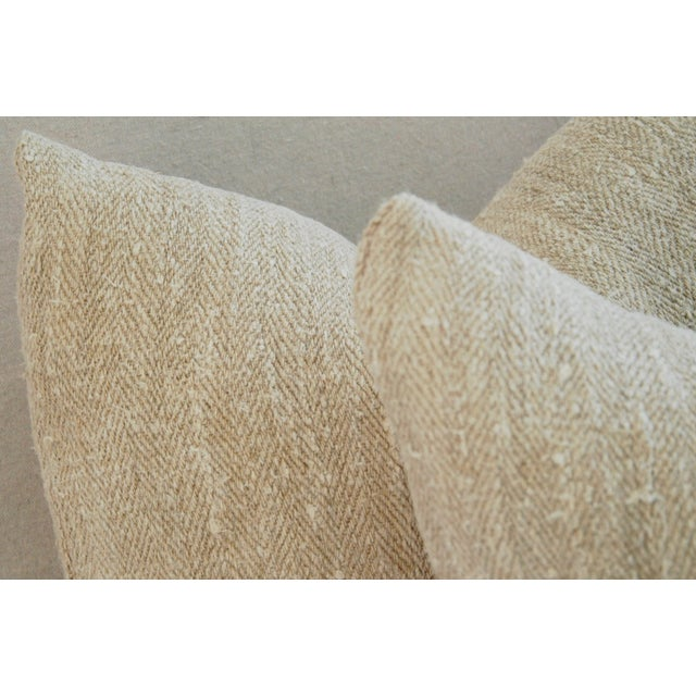 French Grain Sack Down & Feather Pillows - Pair - Image 9 of 11