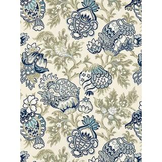 Sample, Scalamandre Canterbury Linen Print, Oyster & Indigo For Sale