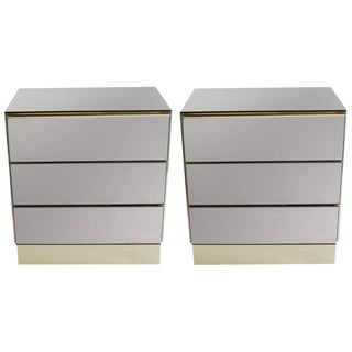 Ello Smoked Mirror Nightstands - A Pair For Sale