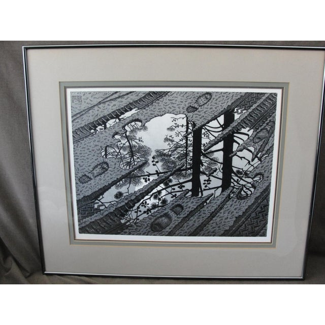 Vintage M.C. Escher Print PUDDLE 1952 This is a very cool print of one of M.C. Eschers mind twisting visions titled...