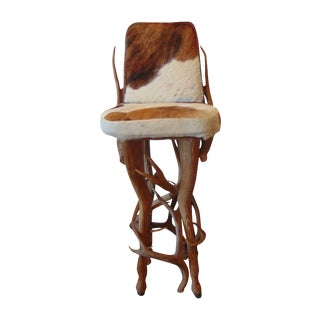 Vintage Rustic Deer Antler & Hide Bar Stool For Sale