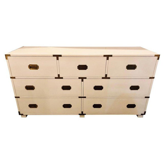 Baker Campaign Chest Having Bronze Pull Spectacular White Lacquer Finish For Sale - Image 13 of 13