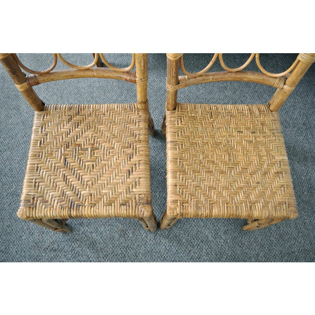 Boho Chic Antique 1920's Bamboo & Rattan Chairs - A Pair For Sale - Image 3 of 10