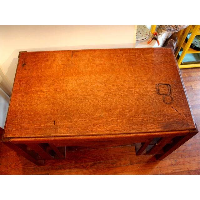 Mission 1920s Antique Stickley Desk Table Bookshelves Mission Oak Writing Desk For Sale - Image 3 of 13