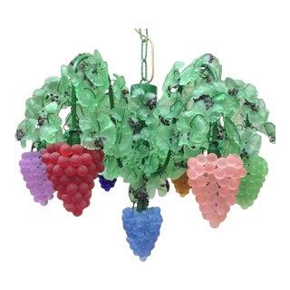 Murano Venetian Art Glass Grapes Cluster Vines Chandelier