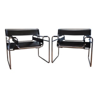 Mid-Century ModernWassily Black Leather Side Chairs - a Pair