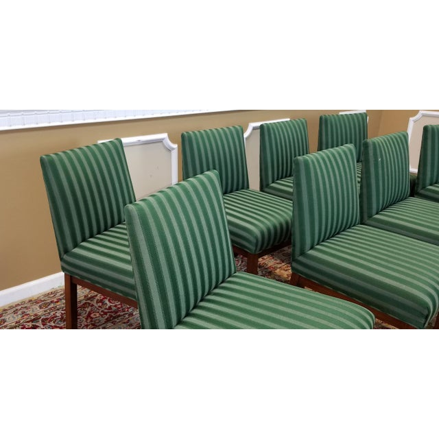 1970s Directional Contract Furniture Green Striped Upholstered Dining Room Chairs - Set of 8 - Image 8 of 11