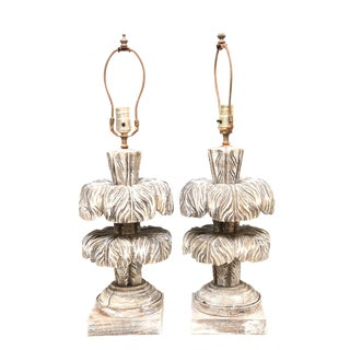 Pair of Two-Tier Wooden Palm Lamps For Sale